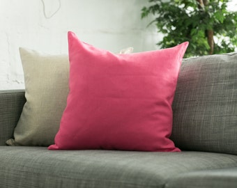 Pink Linen Pillow Covers - Hot Pink