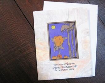 Pumpkins in the Dew -- ORIGINAL hand-drawn halloween card, blank inside, haiku, suminagashi (#HLN003)