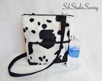 Cow Crossbody Bag, 12 H x 11.5 W x 2 inches, Adjustable Strap, Outer and Inside Pockets, Zipper Closure, Faux Cow Fur,  Hipster Bag