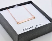 Bar Tag Necklace w Stamped Name or Initials on Link Chain,Graduation, For Mom,Gift,Present,Bridesmaid, Choice of gold,silver,rose,Engraved