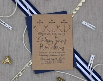Nautical Wedding Invitation / Anchors / Calligraphy