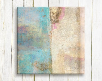 Pastel blue abstract art canvas print - home decor - wedding gift idea