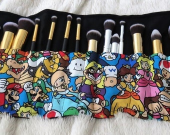 SET Brush Holder & Brushes- Mario Brothers Roll Make Up Brush Holder and 1 Set of 10 PERSONALIZED Makeup Brushes Choose your Custom Colors