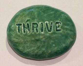 THRIVE Pocket Stone - Ceramic - AQUAMARINE Art Glaze - Inspirational Art Piece
