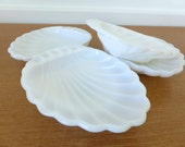 Four milk glass shell dishes for soaps, snacks or trinkets