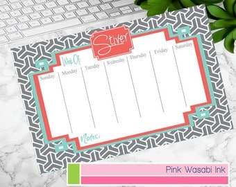 Custom Desk Calendar Personalized Weekly Calendar Monogrammed Desk Calendar Custom Menu Planner Choose Colors
