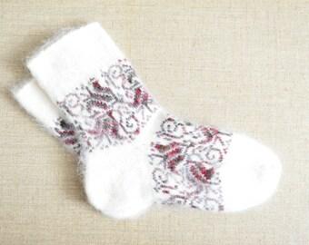 Women's Winter Goat Fluff Wool Socks With Ornament NEW