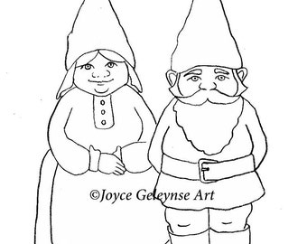 Printable Gnome Stamp Art, Freehand Drawing of Gnome Man and Woman, You Color, jpg and gif files included, INSTANT DOWNLOAD