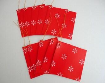 Vintage Christmas Tags SET of 10 Lillian Vernon 1980s Red White snowflake Thank you tags
