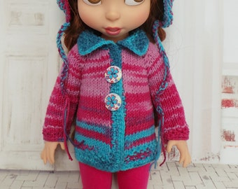 """handmade Outfit for Disney Animators 15"""" doll - Cardigan, Hat & Leggings in blue and magenta"""