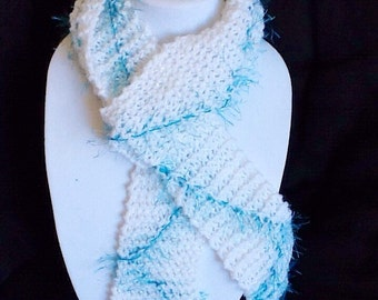 Hand made Scarves - White and blue scarf - Shimmer white scarf - Fun Fur - Hand Knitted Scarf - Long scarf - Narrow scarf - by Wcards
