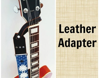Leather Adapter for one button guitars - acoustic headstock guitar leather adapter - removable leather adapter for guitar strap