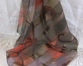 """Small Black Brown Sheer Poly Scarf 20"""" Square"""