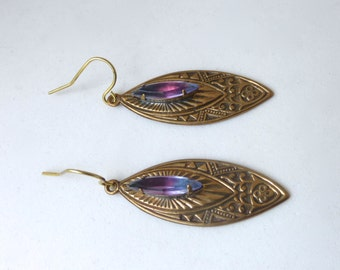 Vintage 1930's Deco Engraved Marquis Brass Earrings with Purple/Blue Ombre Crystal Gem
