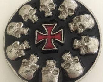 Silver Tone Biker Skull Celtic Cross Buckle Cowboy Cowgirl Trendy Hipster Fashion