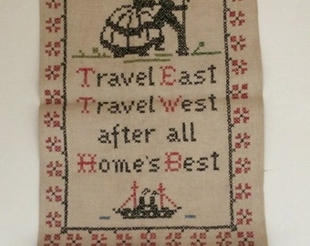 Vintage Cross Stitch Linen Sampler Vogue Needlecraft Artisan Housewarming Gift