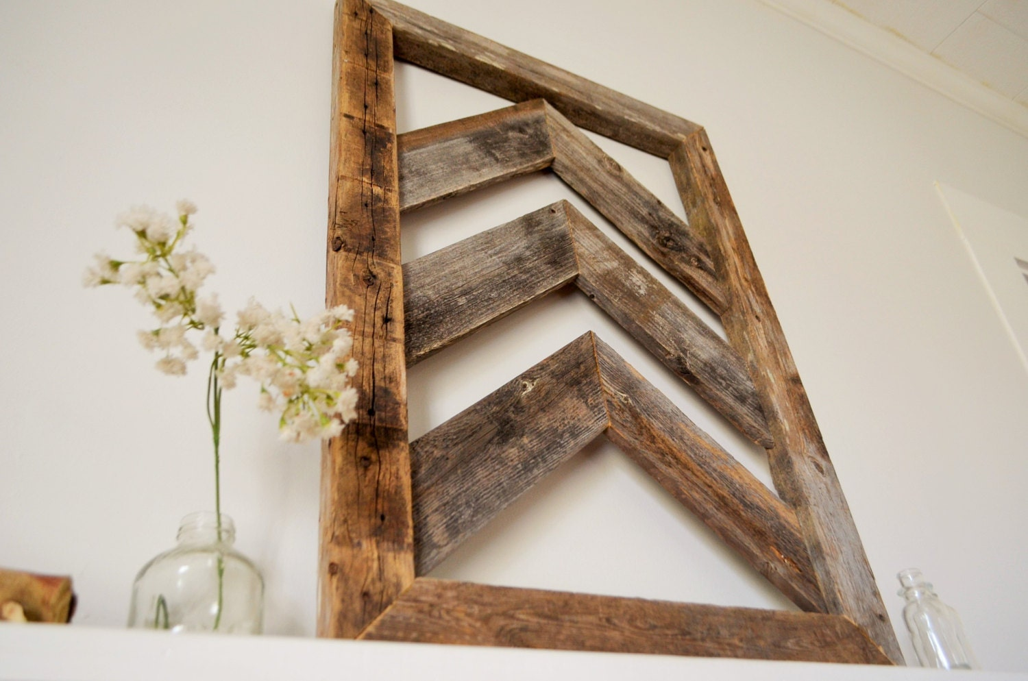 Sale reclaimed chevron wood wall art barn wood home decor for House decor sale