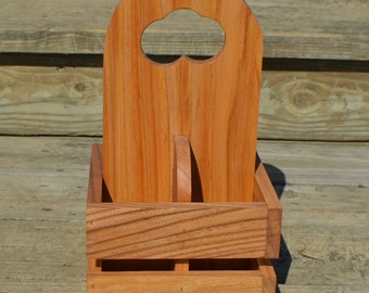 Small utensil caddy Red Elm wood napkin caddy