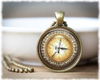 Compass Necklace • Alethiometer Jewelry • Compass Image Jewelry • Literary Inspired Necklace
