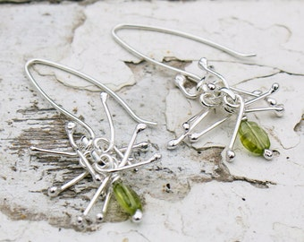 Peridot Anemone Earrings in Sterling Silver
