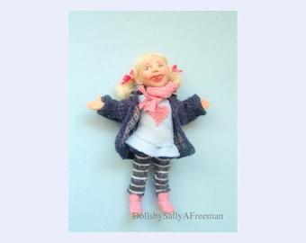 Dolls house Handmade Miniature Little Girl 12th scale