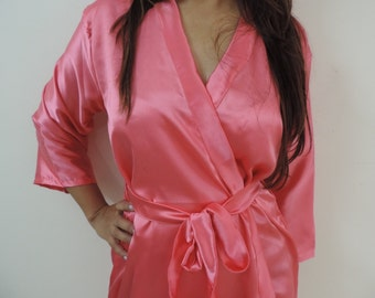 Code: H-4 Satin Solid Color Kimono Crossover patterned Robe Wrap - Bridesmaids gift, getting ready robes, Bridal shower favors, baby shower