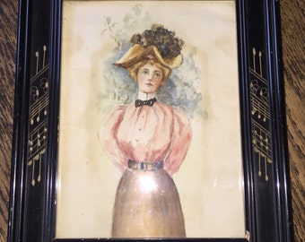 Eastlake Victorian Painting Original Watercolor Victorian Carved Frame Gibson Girl Victorian Lady w Large Hat