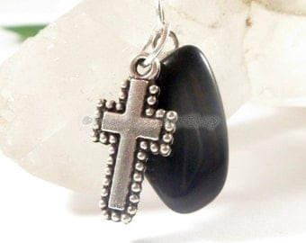 Black Onyx Zipper Pull w Silver Cross Charm, Purse Charm, Keychain Charm Purse Pull Religious Gifts, Birthday Gifts, Christian Gifts for Her