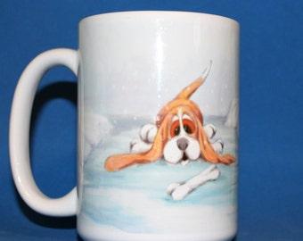 Basset Hound Happy Holidays Christmas Mug, Dog Lover Gift, Dog Coffee Cup, Christmas Gift, Basset Hound gift