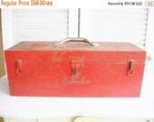 Sale Vintage Snapon Metal Tool Box Large Metal Box Industrial Mancave Decor Rustic Original Finish