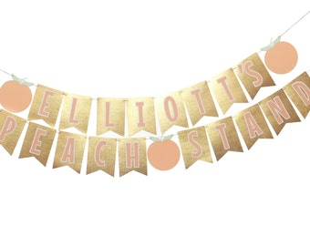 Peach Stand Banner - Peach Party Banner - Gold Peach Banner - Gold Peach Party - Peach Theme - Peach Birthday - Peach Photo Prop