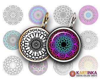 15mm 12mm Printable Images COLORFUL MANDALAS Digital Download for Earrings, Cufflinks, Bracelets, Rings, Pendants, Bottle Caps, Jewerly, DIY