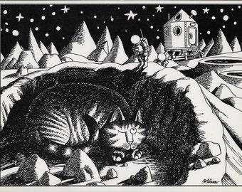 "Funny Cat Art, Kliban Cat, Cat Cartoon, 1979, ""CAT on the MOON"", B Kliban Cats, Bernard Kliban, Vintage Cat Print, Kliban Cats Images"