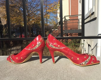 Lipstick Red and Gold Studded Panther Pumps 90s Glam