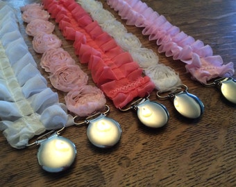 Shabby Chic Ruffle Pacifier Clips - baby girl - baby gift - lead free