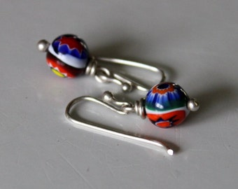 Handcrafted sterling earrings with vintage Murano millefiori glass beads from the studio of Ercole Moretti- Venice Italy. earrings by Reneux