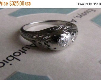 DEADsy LAST GASP SALE Ornate 18K Art Deco Diamond Engagement Ring // Antique Old Mine Cut Diamond Ring // Edwardian to Art Deco White Gold F