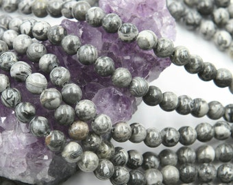 Lot of 5 strands 6mm Gray Map Picasso Jasper (N) Loose Spacer Beads Round 15.5 inch strand (BD5942)