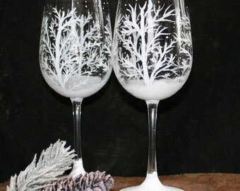 Hand Painted Wine Glasses (Set of 2)  - Winter Snow