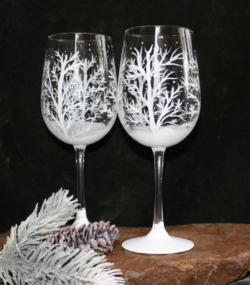 Hand painted wine glasses set of 2 winter snow for Hand painted glassware