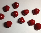 Painted Loose Kukui Nuts for Crafting or Lei Making - Red -10/Set