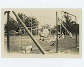 Playground, Walla Walla City Park, WA 1920 Vintage Snapshot Photo (66479)