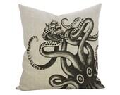 Kraken Linen Pillow, Octopus Throw Pillow, TheWatsonShop
