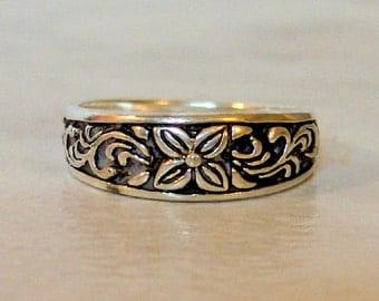 Vintage Flower & Vine Stack Ring,  Sterling Silver