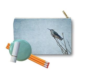 Clutch Bag Zippered Pouch Resting Hummingbird