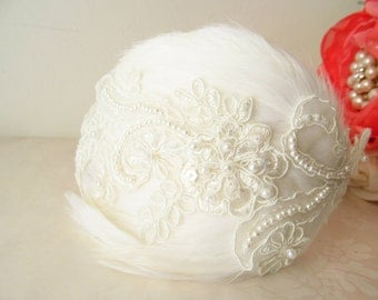 Bridal Headband /  Flower Headband  /  Feather Headpiece / The Faye Headband