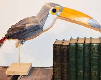 Toco Toucan Sculpture, exotic bird paper art