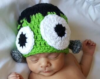 Crochet Baby Halloween Hat, Baby Frankenstein Hat, Crochet Baby Hat, Baby Holiday Hat, Baby Monster Hat, Adult Monster Hat
