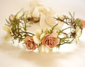 Bridal Flower Crown, Blush Wedding, Woodland Headdress, Vintage Wedding, Mommy & Me Flower Crown, Maternity Photo Shoot, Head Wreath-MIRIAM