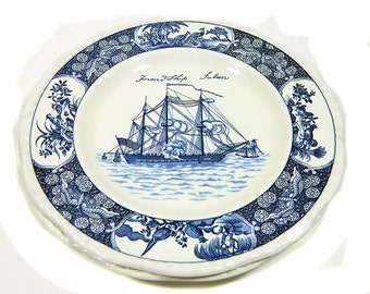 Two Wedgwood Friendship Salem Dinner Plates Blue and White Sailing Ship